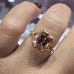 NEW 18K ROSE GOLD RADIANT MORGANITE HALO RING